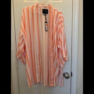 Cotton On Orange & white Striped Kimono XS/Small